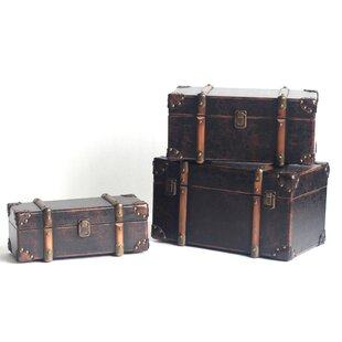Williston Forge Delgado 3 Piece Antique Leather Trunk Set