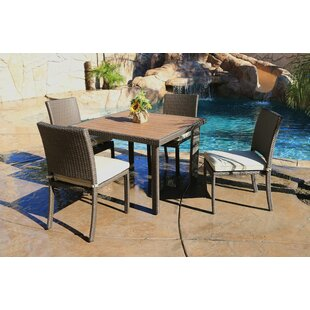 Latitude Run Heffington 5 Piece Dining Set with Cushion