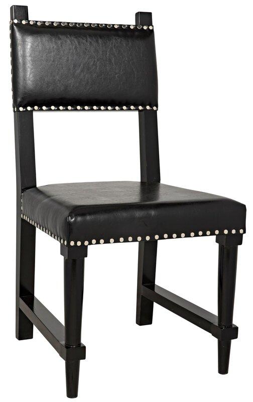 Noir Kerouac Upholstered Solid Wood Side Chair in Black