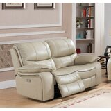 Gunning 67 Wide Genuine Leather Pillow Top Arm Reclining Loveseat by Red Barrel Studio®