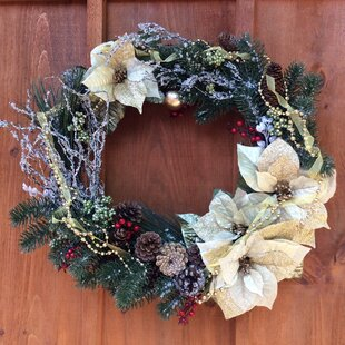 Front Door 25 Poinsettia Wreath