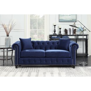 sture tufted chesterfield sofa - Navy Blue Couch