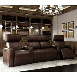 Home Theater Row Curved Seating with Chaise Footrest (Row of 4) Latitude Run
