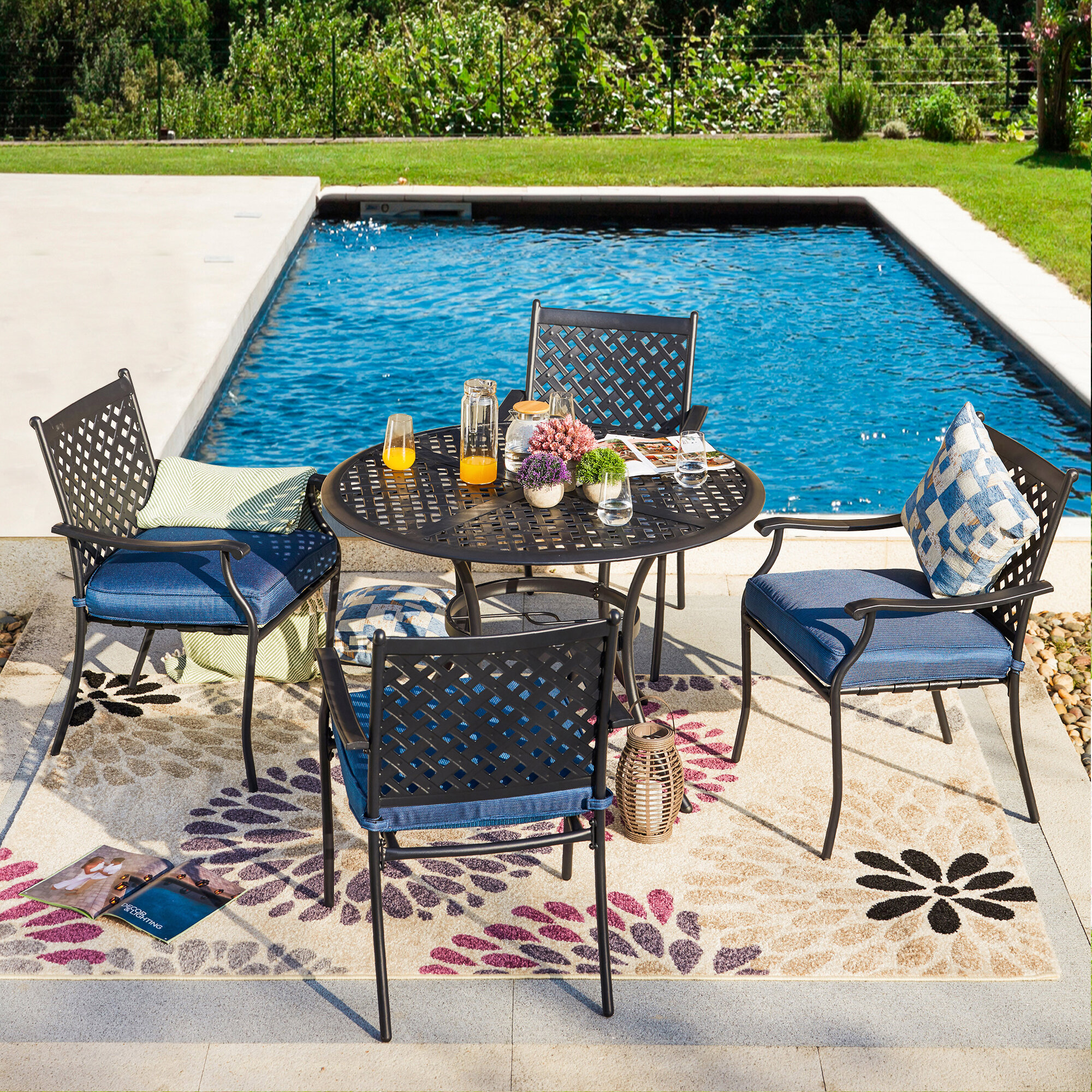 Balcony Patio Modern Outdoor Furniture with Seat Cushions for Poolside Sophia /& William Outdoor Patio 3 Pieces Dining Set with 2 PE Rattan Chairs and 1 Square Bistro Metal Side Table Porch