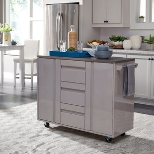 Emblyn Kitchen Island with Cart Stainless Steel Top by Latitude Run