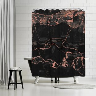 East Urban Home Emanuela Carratoni Copper On Black Marble Shower Curtain