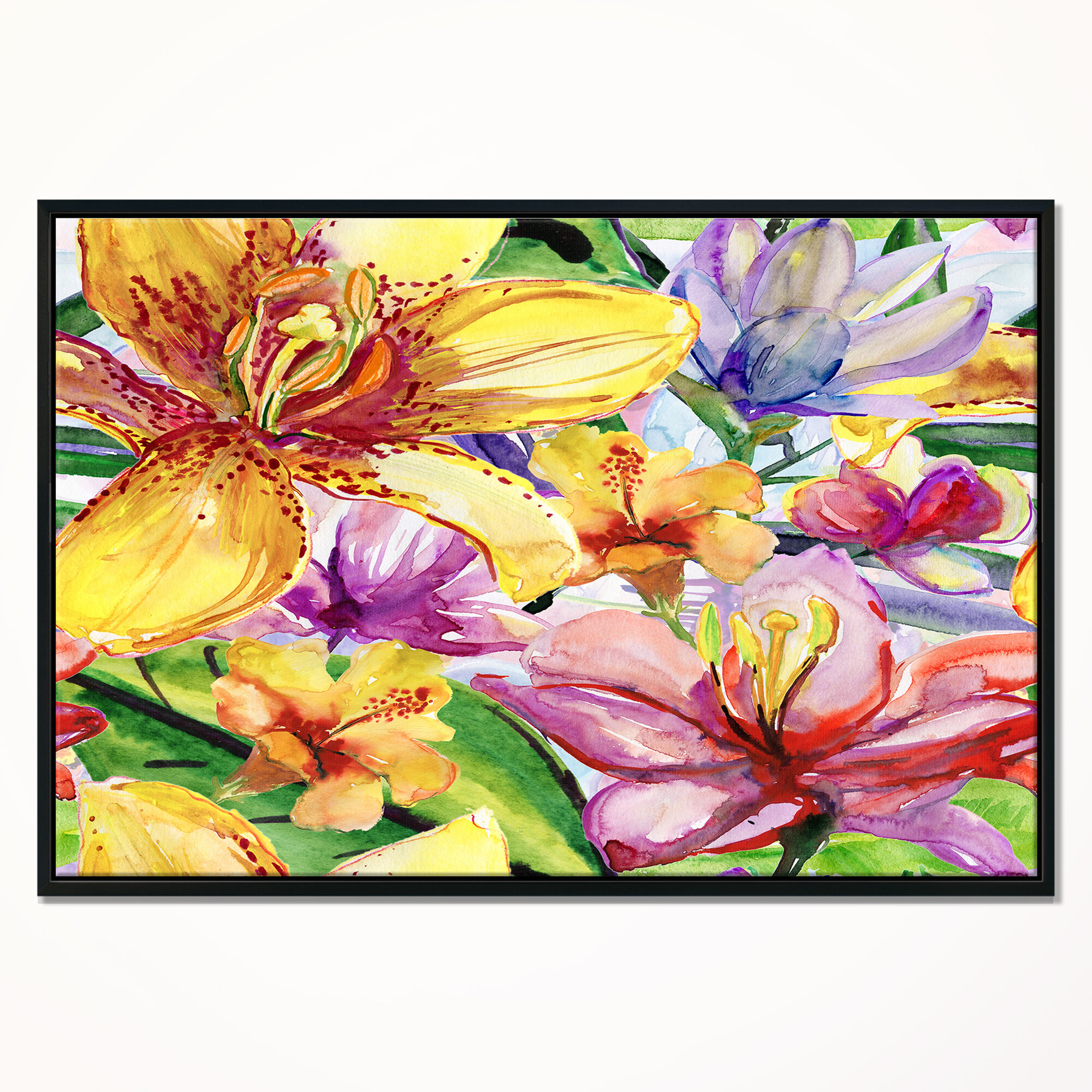 East Urban Home \'Lily Flowers Illustration\' Framed Oil Painting ...