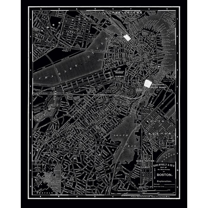 Classic 'Boston 1985 Vintage Map' - Wrapped Canvas Graphic Art Print