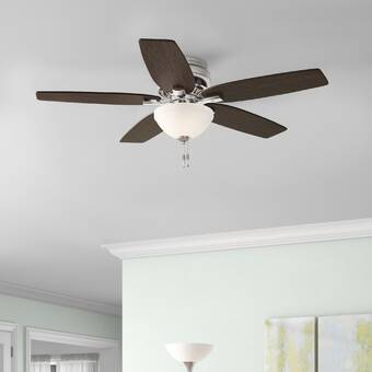 Hunter Fan 52 Newsome 5 Blade Flush Mount Ceiling Fan With Pull Chain And Light Kit Included Reviews Wayfair