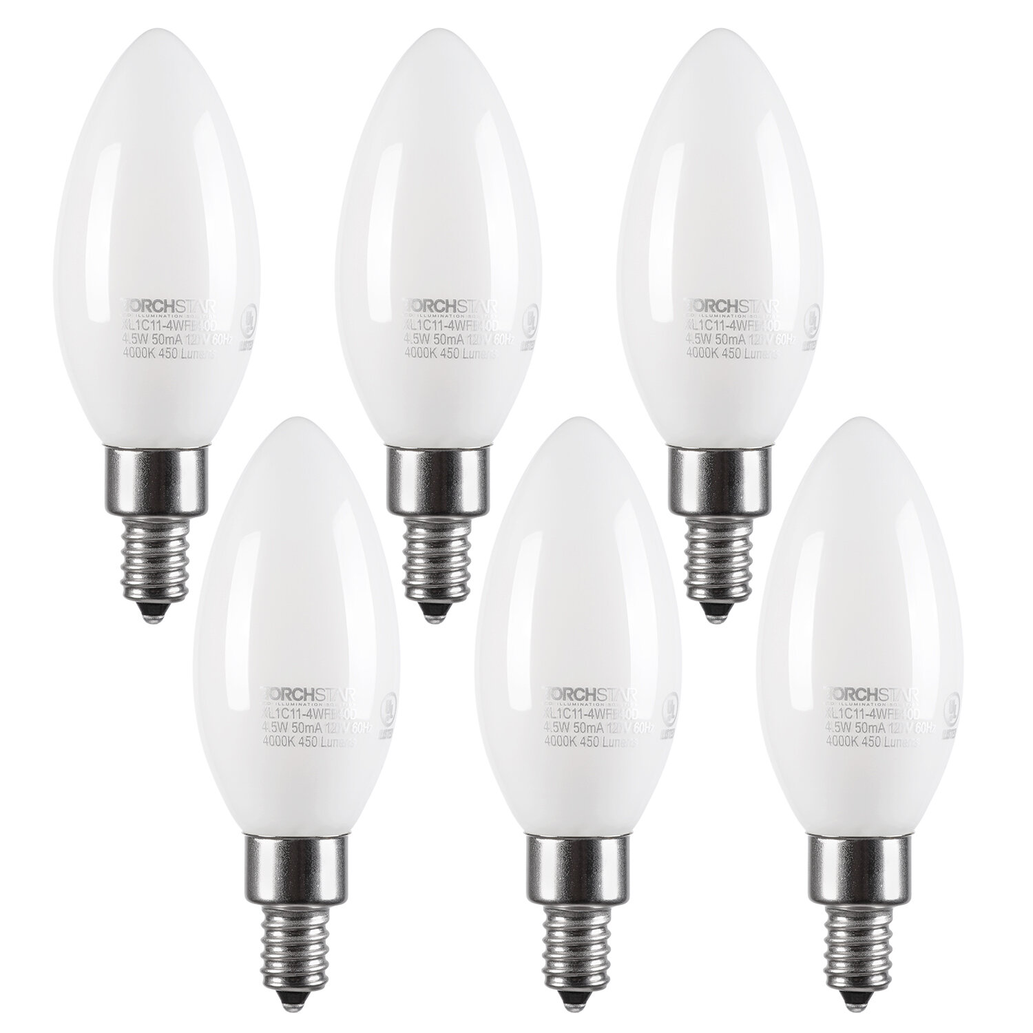 Candle Light Chandelier Lamp Non-dimmable Sharp Bulb Warm White LED Pro Durable