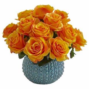 Rose Artificial Floral Arrangement in Ceramic Vase