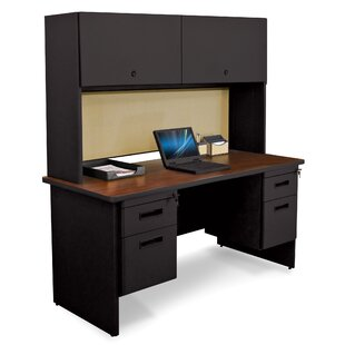 Crivello Double File and Flipper Door Cabinet Computer Desk with Hutch