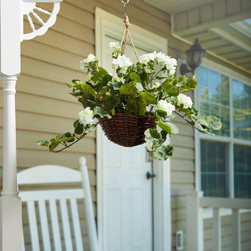 Pure Garden Artificial Geranium Hanging Basket Reviews Wayfair