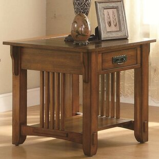 Aldana Transitional Slated Wooden End Table