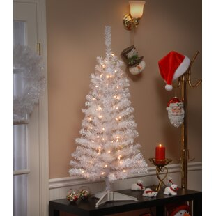 4 white iridescent tinsel tree with plastic stand 70 clear lights