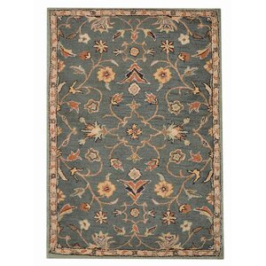 Beaconcrest Vintage Hand-Tufted Wool Green Area Rug