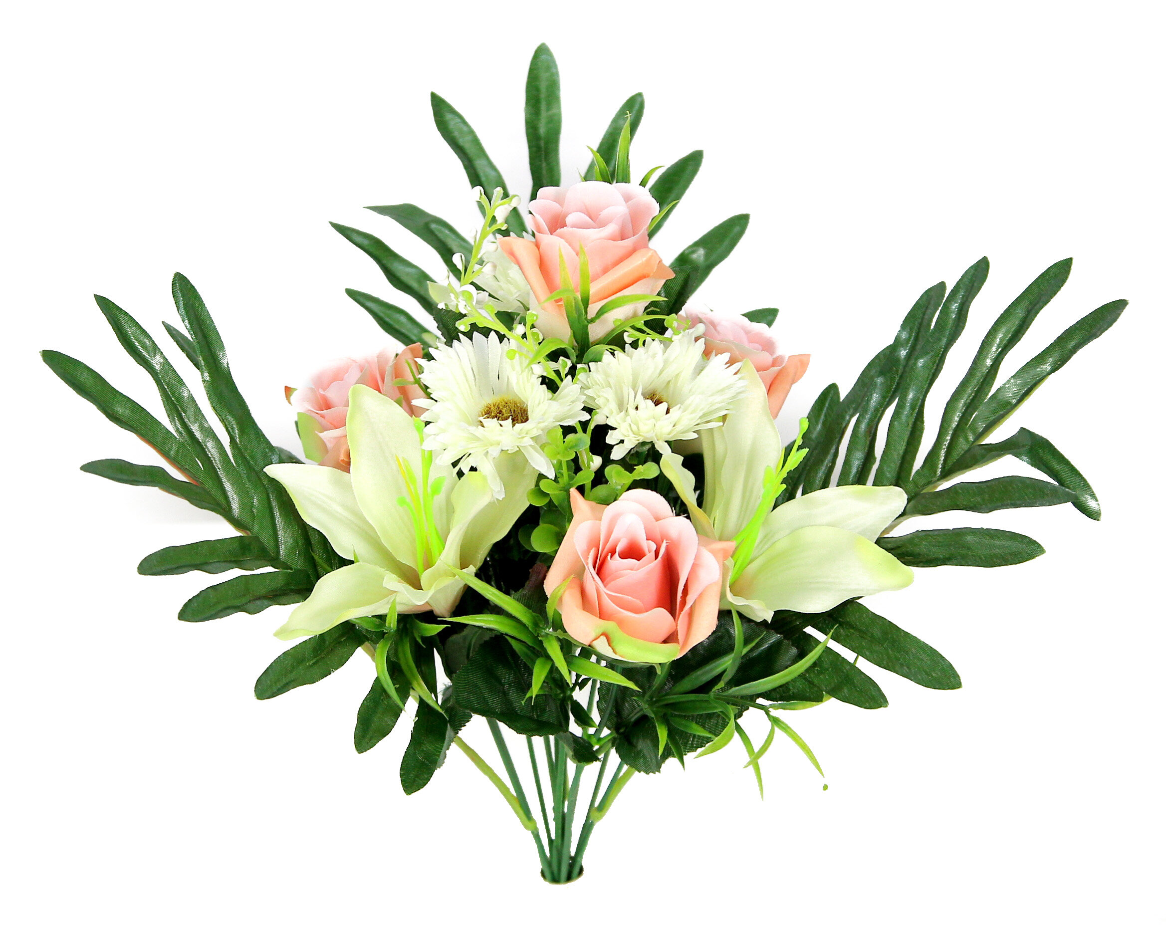 Admiredbynature Artificial Blooming Lily Rose Daisy Flowers And Greenery Mixed Flowers Bush Wayfair