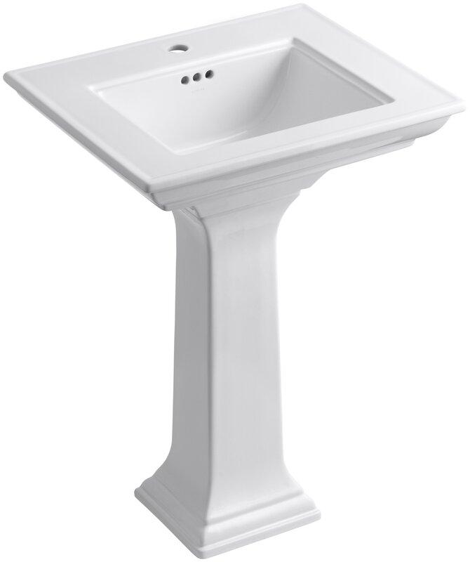 """Memoirs® Ceramic 25"""" Pedestal Bathroom Sink with Overflow"""