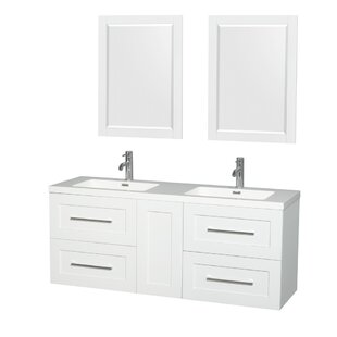 Olivia 60 Double Glossy White Bathroom Vanity Set with Mirror By Wyndham Collection