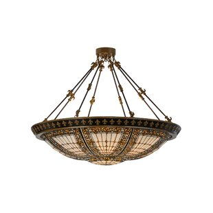 Meyda Tiffany Fleur-de-lis 8-Light Semi-Flush Mount