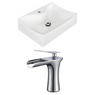 Royal Purple Bath Kitchen Ceramic Rectangular Vessel Bathroom Sink with Faucet and Overflow