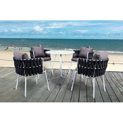 Torney Rope Outdoor 5 Piece Dining Set With Cushions by Rosecliff Heights New