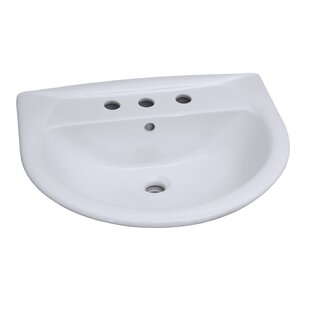 Read Reviews Karla 650 Vitreous China 26 Pedestal Bathroom Sink with Overflow By Barclay