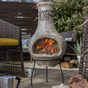 Great Deals Braiden Clay Wood Burning Chiminea