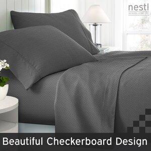 Wyatt Embossed Checkerboard Microfiber Sheet Set (Set of 4)