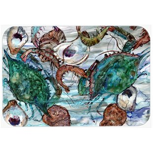 Shrimp, Crabs And Oysters In Water Kitchen/Bath Mat by Caroline's Treasures