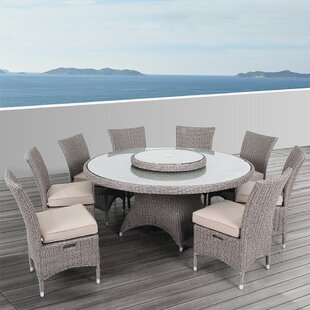 Habra II 9 Piece Sunbrella Dining Set with Cushions