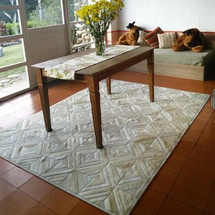 Look for Bellflower Patchwork Hand-Woven Cowhide Off White Area Rug By Foundry Select