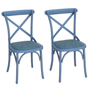 Eco-Friendly Vintage Genuine Leather Upholstered Dining Chair (Set of 2)