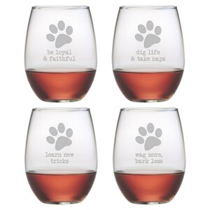 Castille 4 Piece Dog Wisdom 21 oz. Stemless Wine Glass Set