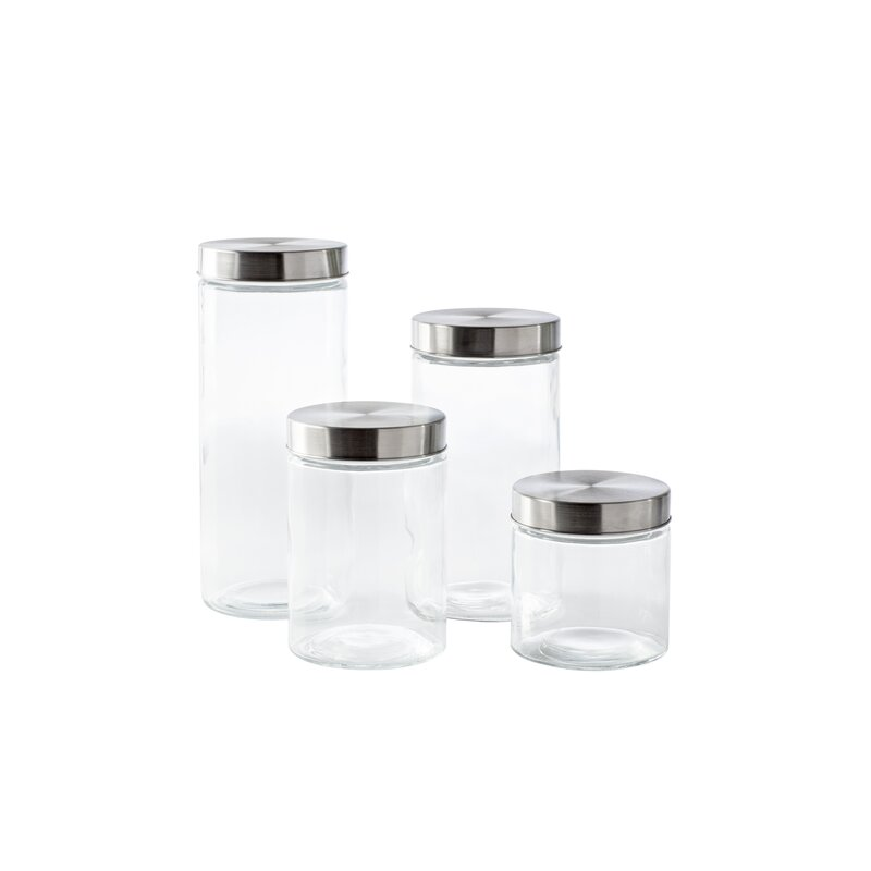 wayfair basics 4 piece round screw top glass kitchen canister set & reviews   wayfair