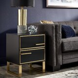 Rialto Sled 2 - Drawer End Table by Everly Quinn