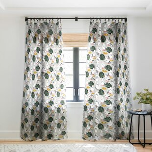 Pigeons Floral Sheer Curtain Panels (Set of 2) by East Urban Home