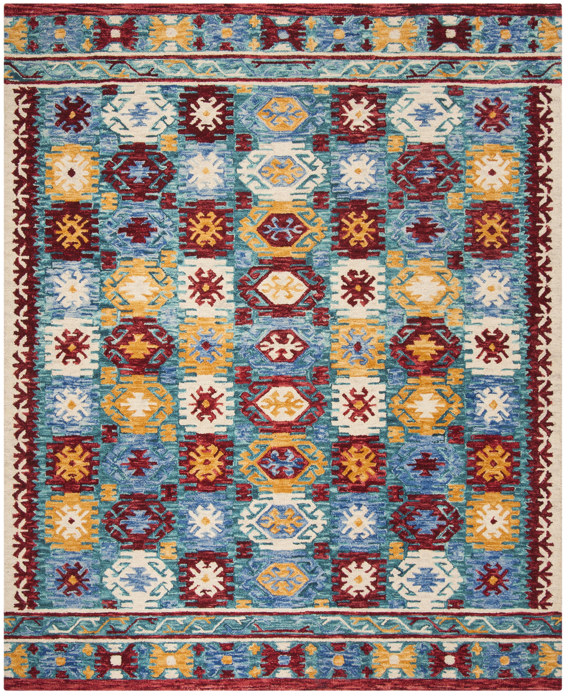 Loon Peak Bobigny Hand Tufted Wool Blue Red Area Rug Wayfair