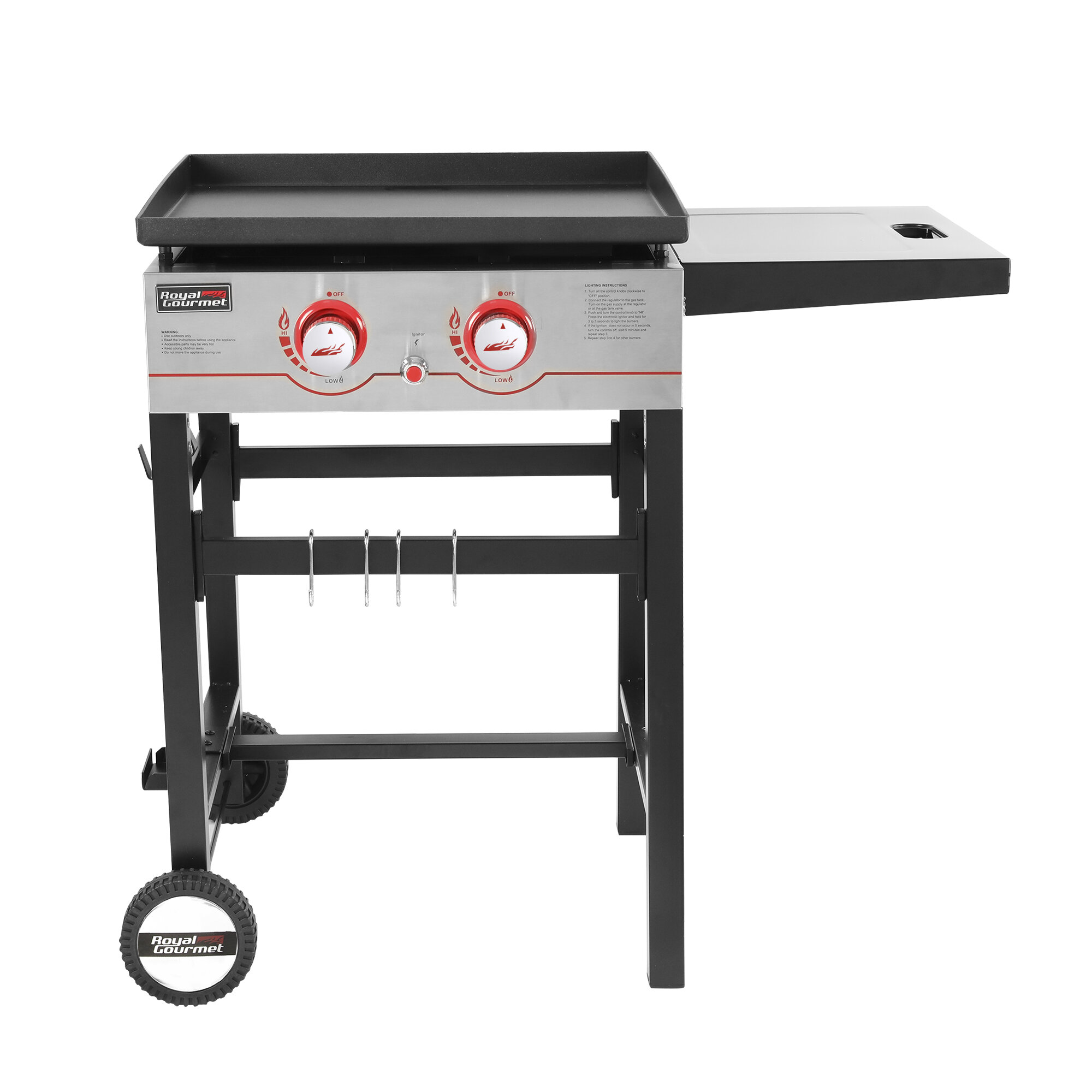 Royal Gourmet 2 Burner Flat Top Propane Gas Grill With Side Table Reviews Wayfair