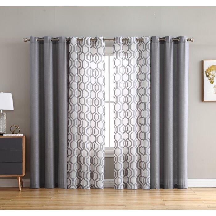 Estevao Solid Semi Sheer Curtain Panels