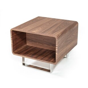 Chouinard Wood and Stainless Steel End Table by Orren Ellis