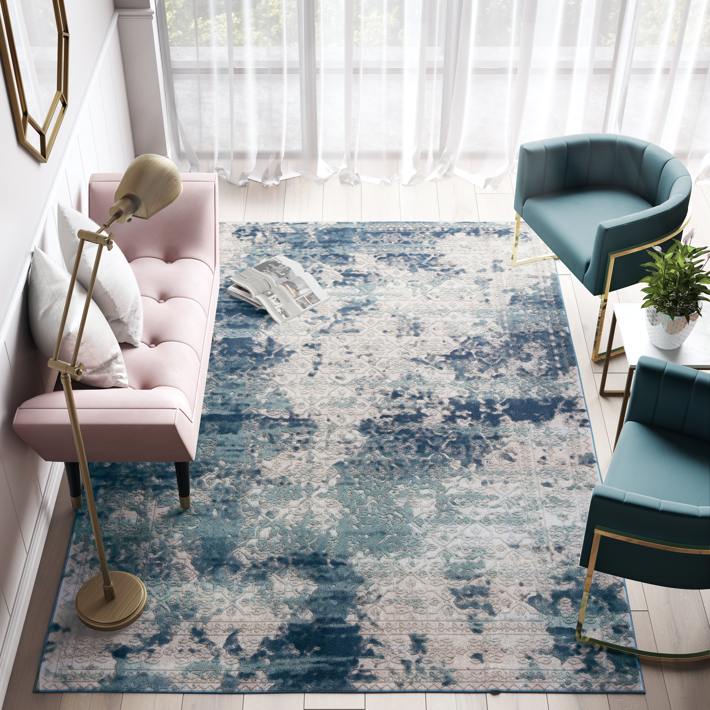 Cosmoliving By Cosmopolitan Duchess Abstract Gray Blue Area Rug Reviews Wayfair
