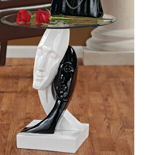 Lovers in Black and White Sculptural End Table