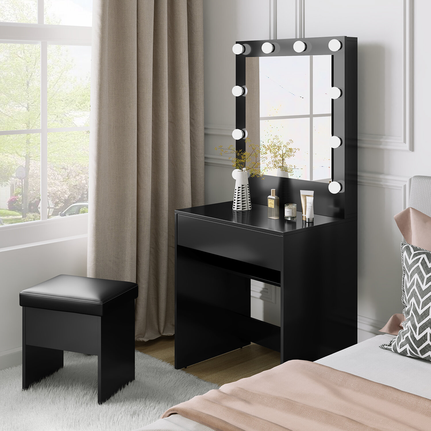 Makeup Vanity Table Set With 10 Colour Led Lighted Mirror, Dressing Desk  With Large Drawer And Cushioned Stool For Bedroom, Black