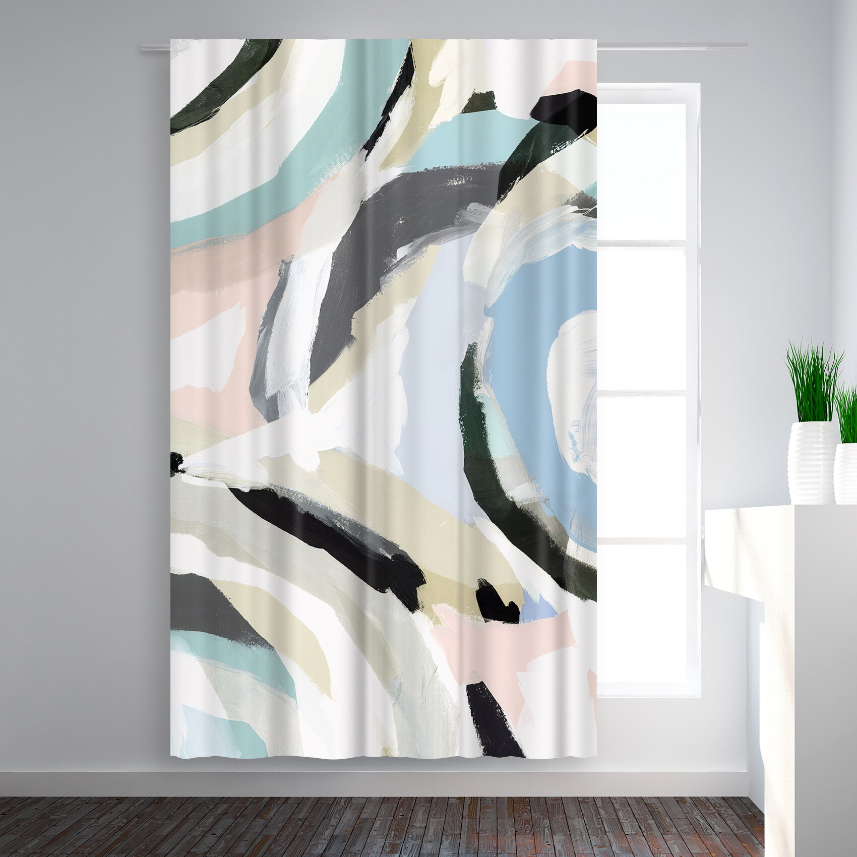 East Urban Home Pi Creative Art Galore Ii Abstract Blackout Rod Pocket Single Curtain Panel Wayfair