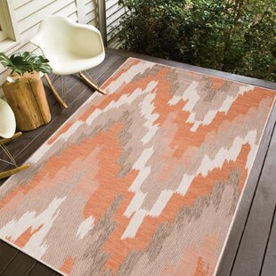 Annie Ivory/Brick Indoor/Outdoor Area Rug