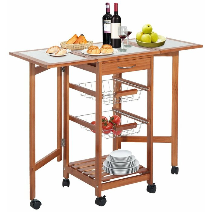 Henman Kitchen Cart with Wood Top