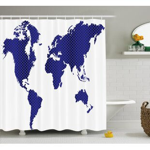 Magnetic world travel map wayfair berggren world map travel holiday shower curtain gumiabroncs Gallery
