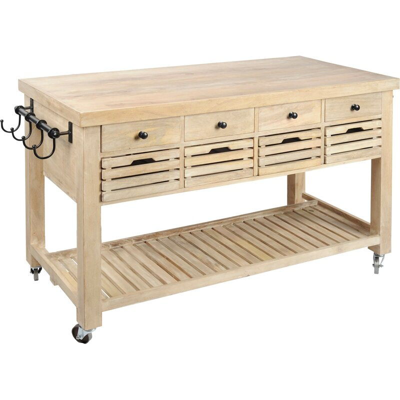 Solid wood kitchen cart on casters