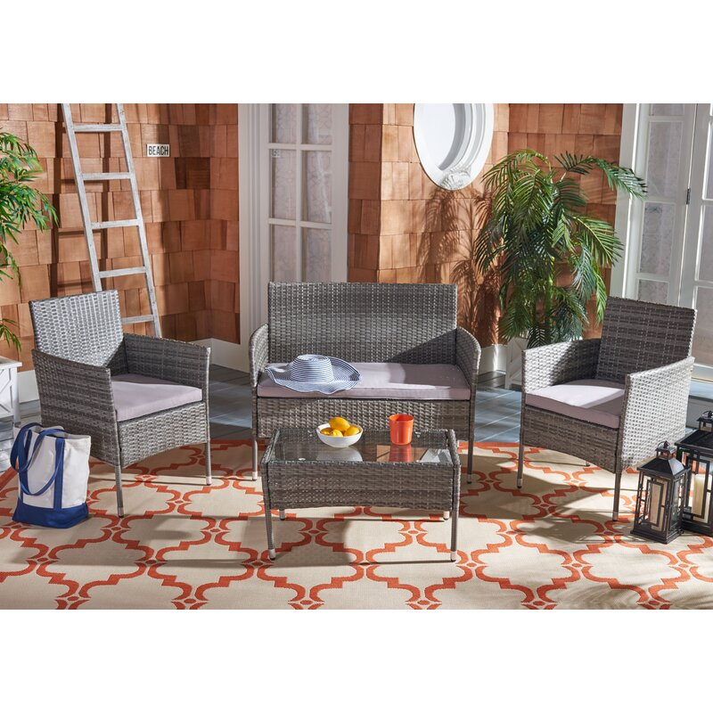 4 Piece Rattan Complete Patio Set with Cushion